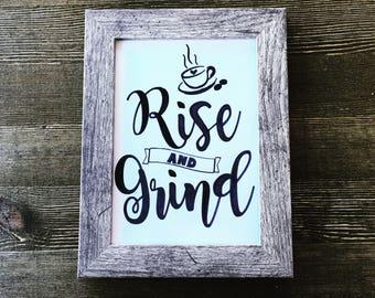 Rise and Grind coffee bar print