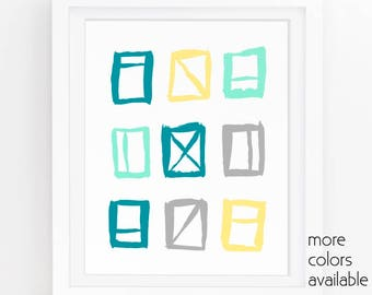 Teal and gold decor, Teal and gray decor, Blue and yellow, Geometric print, Turquoise art, Square wall art, Printable 5x7, 8x10, 11x14 227d