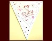 40th Anniversary banner, paper flag bunting, Ruby Wedding Bunting, 40th anniversary, party decoration, anniversary banner, UK seller