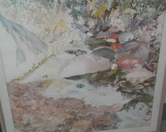 Large  Watercolor/ Unsigned/ Bushes/Rocks/Pond
