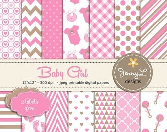 50% OFF Baby Shower Digital papers, Baby Girl Baptism, Birth Announcement, Baby Rattle, Baby Bottle, It's a Girl Digital Scrapbooking Papers