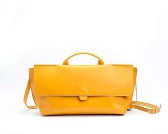 Yellow Leather Purse / Women's Bag / Evening Clutch / Top Handle Handbag / Crossbody Purse / Shoulder Bag / Small  Every Day Bag - Romie