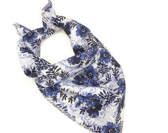 Blue floral tie on dog bandana | med | ready to ship