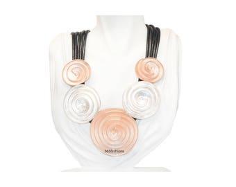 statement spiral medallion disc wired rope neckline silver & rose gold necklace