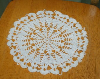 """Hand Crafted DOILY - 10"""" White Hand Crocheted Doily"""