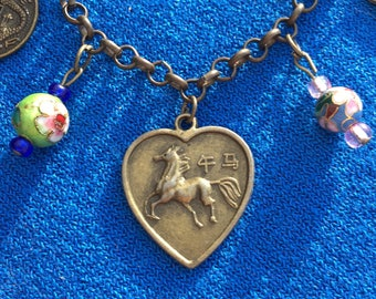 Year of the Horse Asian Reversible Two-Sided Charm Bracelet Chinese New Year Lunar New Year