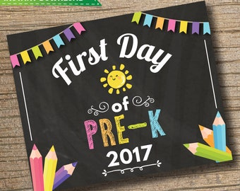 First Day of Pre K Sign - 1st Day of School Printable - First Day of School Sign - Photo Prop - Chalkboard Sign Instant Download