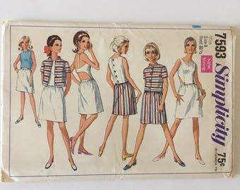 Vintage Simplicity Pattern 7593 - Woman's Halter Top, Shirt, Skirt-Uncut