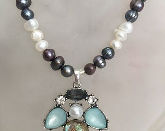Freshwater Pearls Abalone Bee Pendant