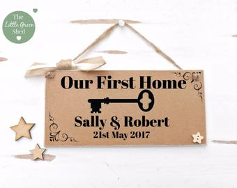 First Home Housewarming Plaque Vintage style Sign Personalised