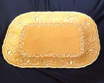 Bordall Pinheiro Gold Vintage Turkey Platter