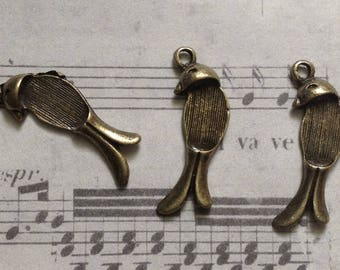 3 bird charms to personalize bronze 10x23mm