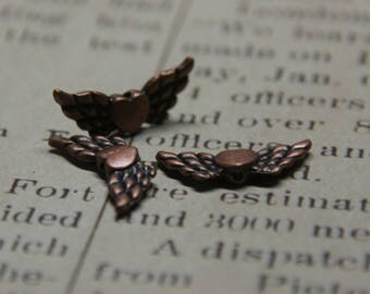winged heart metal color copper 22x9mm 4 beads