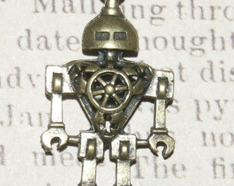 Great colored metal robot charm bronze 46x25mm