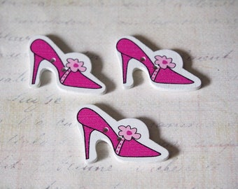 3 buttons shoes pink wooden 36x23mm