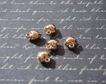 5 mini plump 10x7x5mm gold metal heart charms