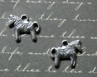 2 silver-plated 12x14mm carousel horse charms