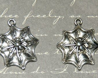 2 charms 18x22mm silver Spider Web