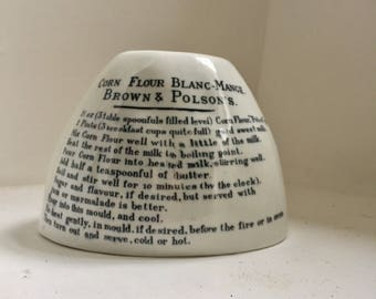 RESERVED - Antique Brown and Polson Blanc Mange White Ironstone Mould
