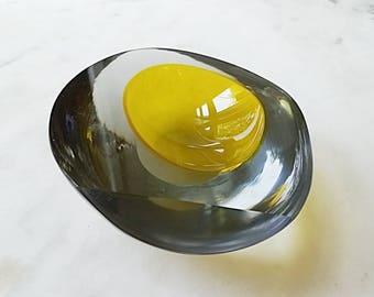 Mid Century Murano Seguso Glass Bowl, Yellow
