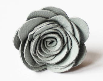 Mens Leather Flower Lapel Pin / Boutonniere / Brooch /