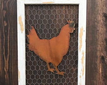 Chicken wire sign, Metal Chicken, Metal Signs, Farmhouse Decor, Farmhouse Signs, Fixer Upper Style, Rusted Chicken, Rustic Home Decor, Barn