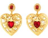 Opulent XL Baroque Babygirl Doorknocker Heart Earrings