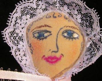 I Love Lucy Primitive Folk Art Doll. OOAK