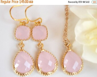 SALE Bridesmaid Jewelry Set, Ice Pink  Earrings and Necklace Set, Light Pink, Soft Pink, Pale Pink, Gold Filled, Wedding Set, Dangle, Pendan