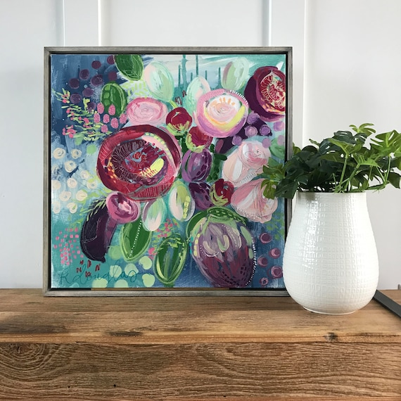 "Abstract Floral Giclee Print- ""Berry"""