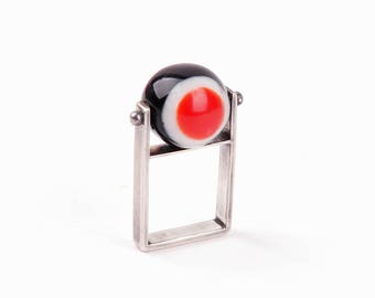 Silver ring with resin globe, black-white-red, fits S