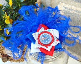 Red White and Blue Memorial Day Independence Day Fireworks Feathers and Flower Hair Clip
