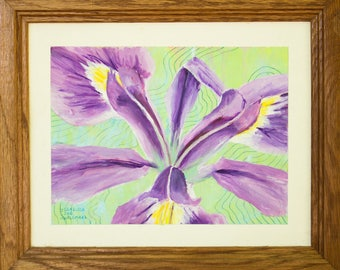 Vibrant Iris Acrylic Painting