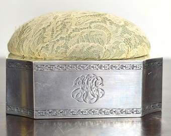 Early 1900s Gorham Large Silk & Lace Sterling Sewing Pin Needle Cushion Box