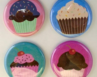 Cupcake Magnets - 4 Refrigerator Kitchen Magnets - 1.25 inch Buttons