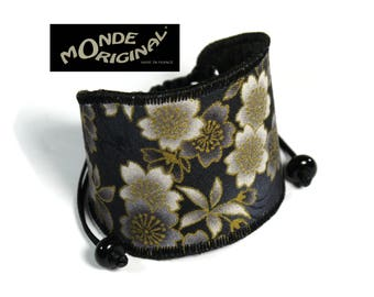 Gray black Japanese fabric and leather flower Cuff Bracelet