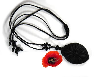 Black Victorian necklace polymer clay