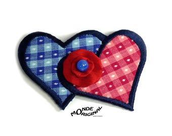 You and me poppy fabric hearts brooch Japanese gingham