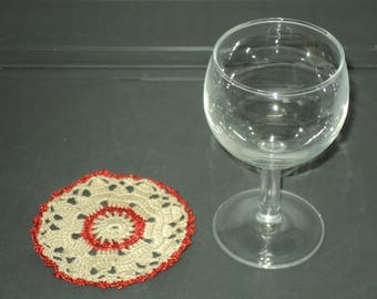 6 DOILIES or coasters handmade crochet Beige cotton