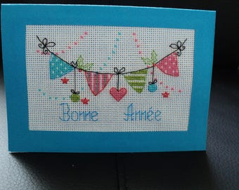 Happy new year card embroidered cross stitch: new year banner