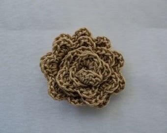 SET of 10 flowers BEIGE to CROCHET for SCRAPBOOKING ref: z37