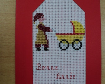 Happy new year card embroidered cross stitch: pixie