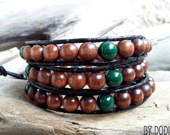 Bracelet wrap 3 turns Man, leather wood dark brown, baked porcelain green dark, Boho jewelry, By Dodie
