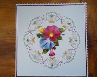 Pink and blue flowers - hand made 3D card