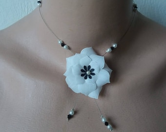 White and black wire Flower necklace hypoallergenic available on wedding