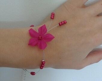 Bracelet wire hypoallergenic available Fuchsia silk flower on wedding