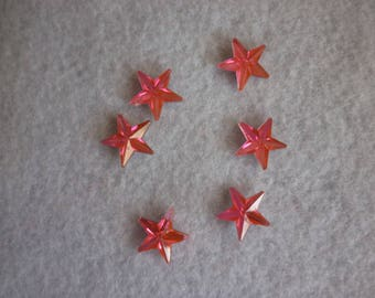 Pink Rhinestone star stick size is 10 mm, sold in packs of 12.