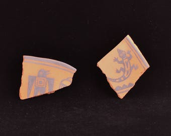 """Southwest Refrigerator Magnets, Terra Cotta """"Pot Shards"""", Hand-Painted Mimbres Designs.  Sold Individually."""