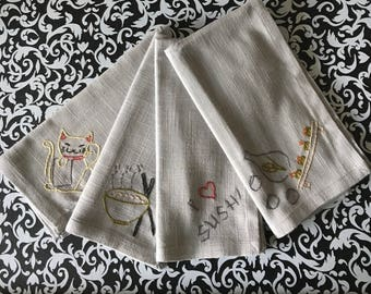 Four Hand Embroidered Napkins (Sushi lover themed)