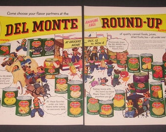 1950 Del Monte Canned Foods, Vintage Print Ad, Fall Round-Up, Cartoon Cowboys, De Lappe Art, Western Theme, Kitchen Decor